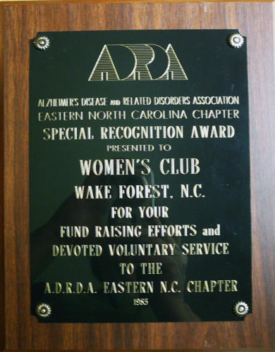 ADRDA Eastern N.C. Chapter recognition, 1985