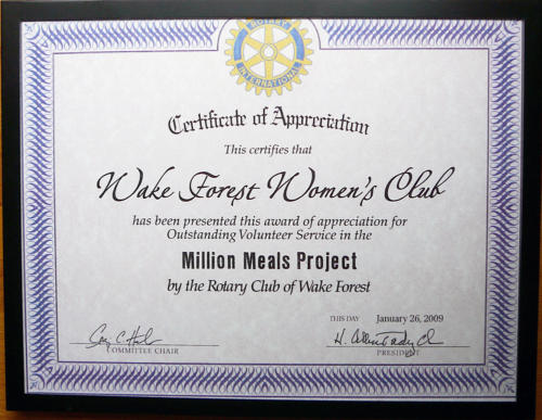 Rotary Million Meals Project certificate, 2009